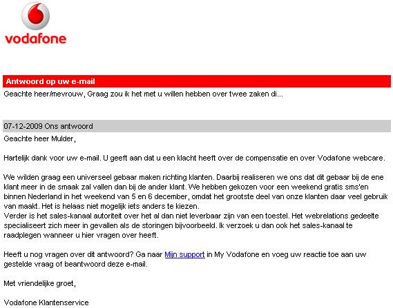 Antwoord van Vodafone ivm compensatie storing