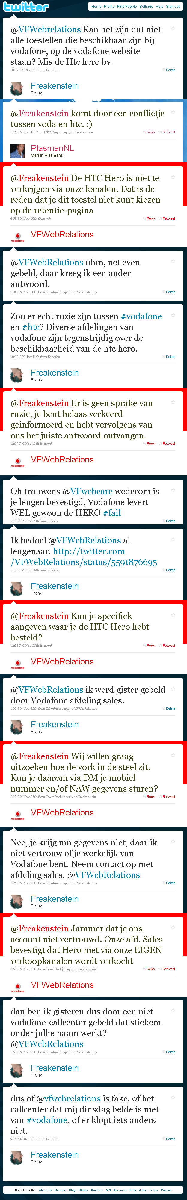 Brief aan Vodafone over storingen en twitter