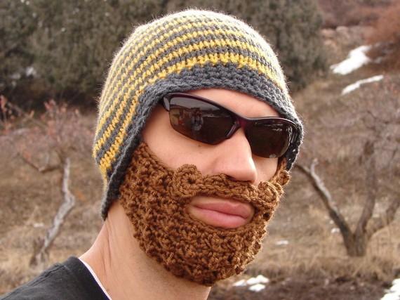 yellow-gray-striped-bearded-beanie